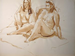 Two Female Models Seated in Studio Sepia 22 x 29.875