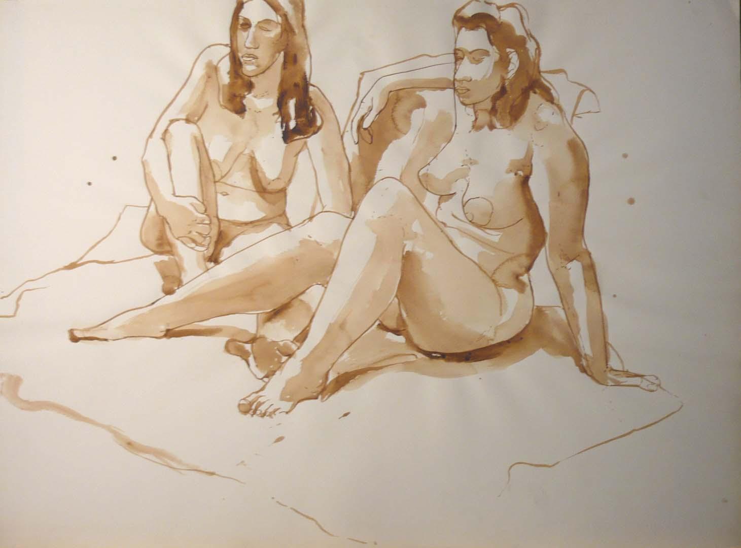 Two Female Models Seated in Studio Sepia 22 x 29.875