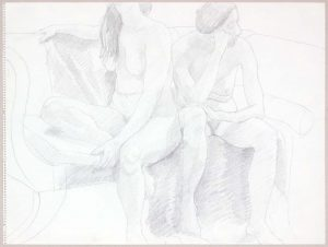 Two Female Models Seated on Sofa Graphite 17.875 x 24
