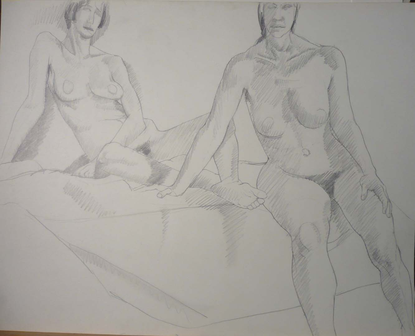 Two Female Models Sitting Pencil 22.625 x 28.5