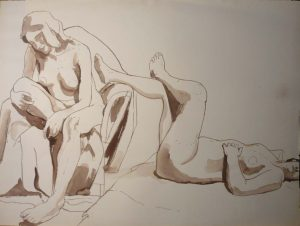 Two Female Models with Chair Sepia 22 x 29.875