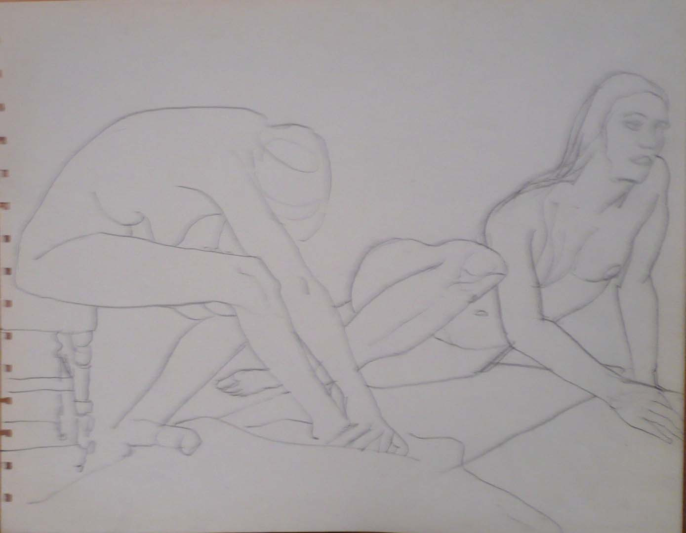 """Two Female Models with Chair Pencil 10.75"""" x 13.75"""""""