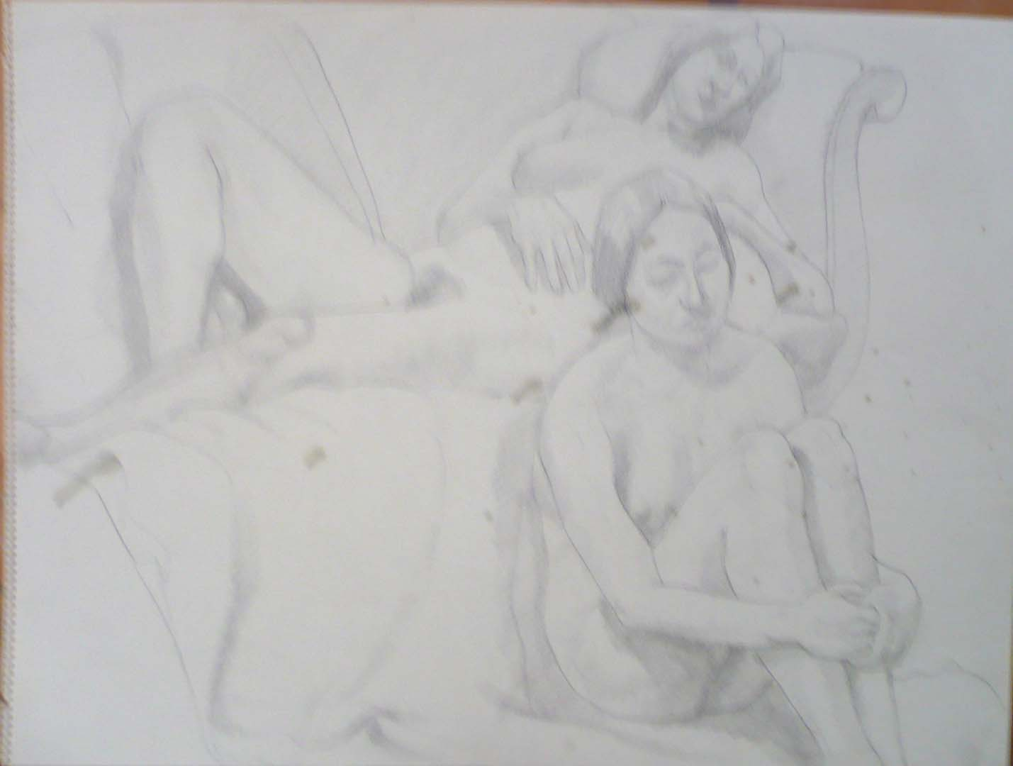 "Two Females with Victorian Sofa Pencil 18"" x 24"""