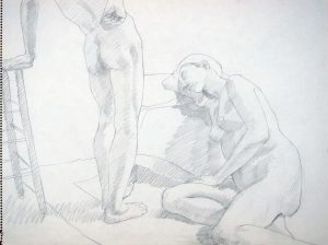 Two Models with High Stool Pencil 18 x 24