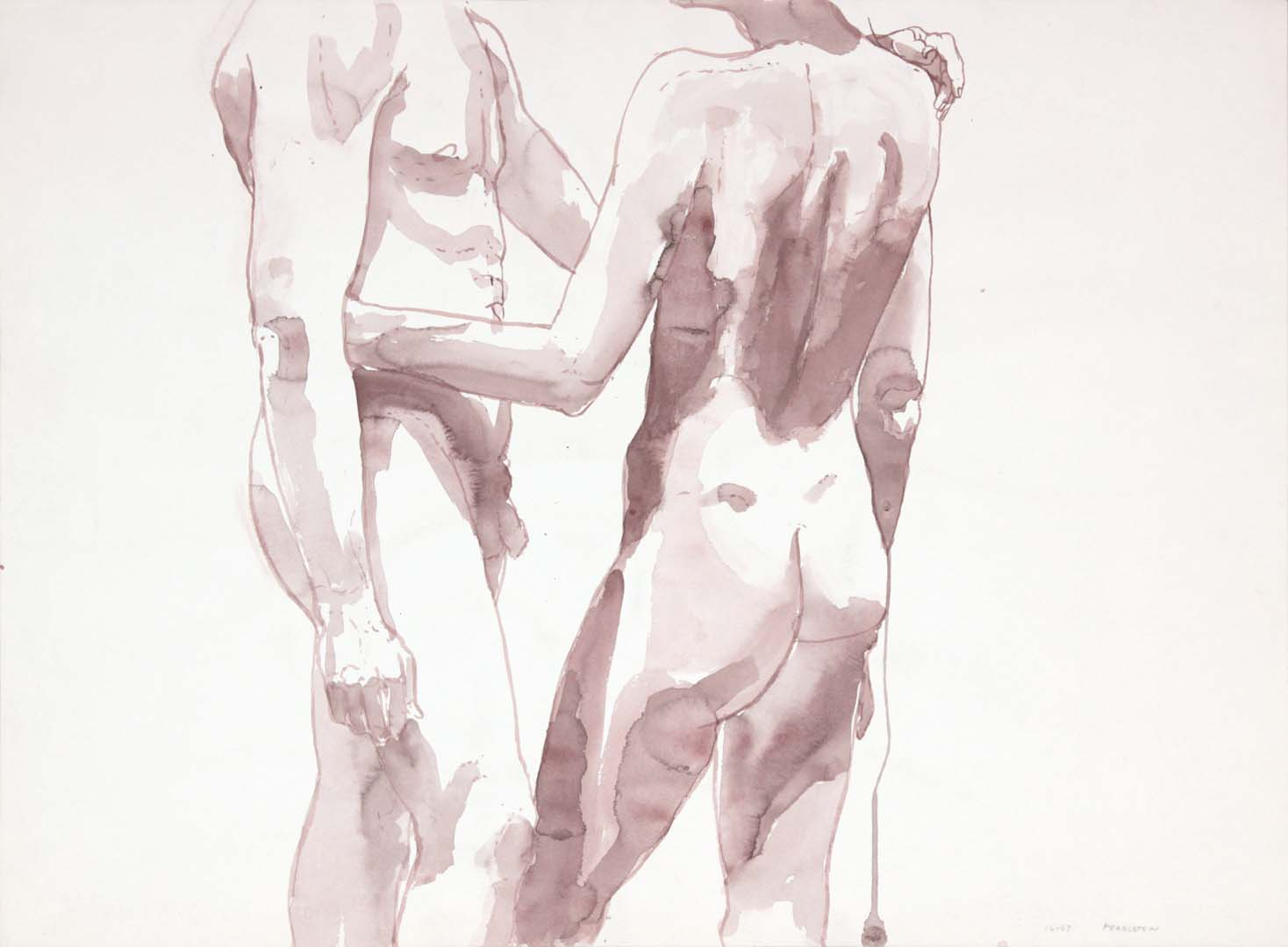 Two Nudes Facing Each Other Sepia 22 x 29.875