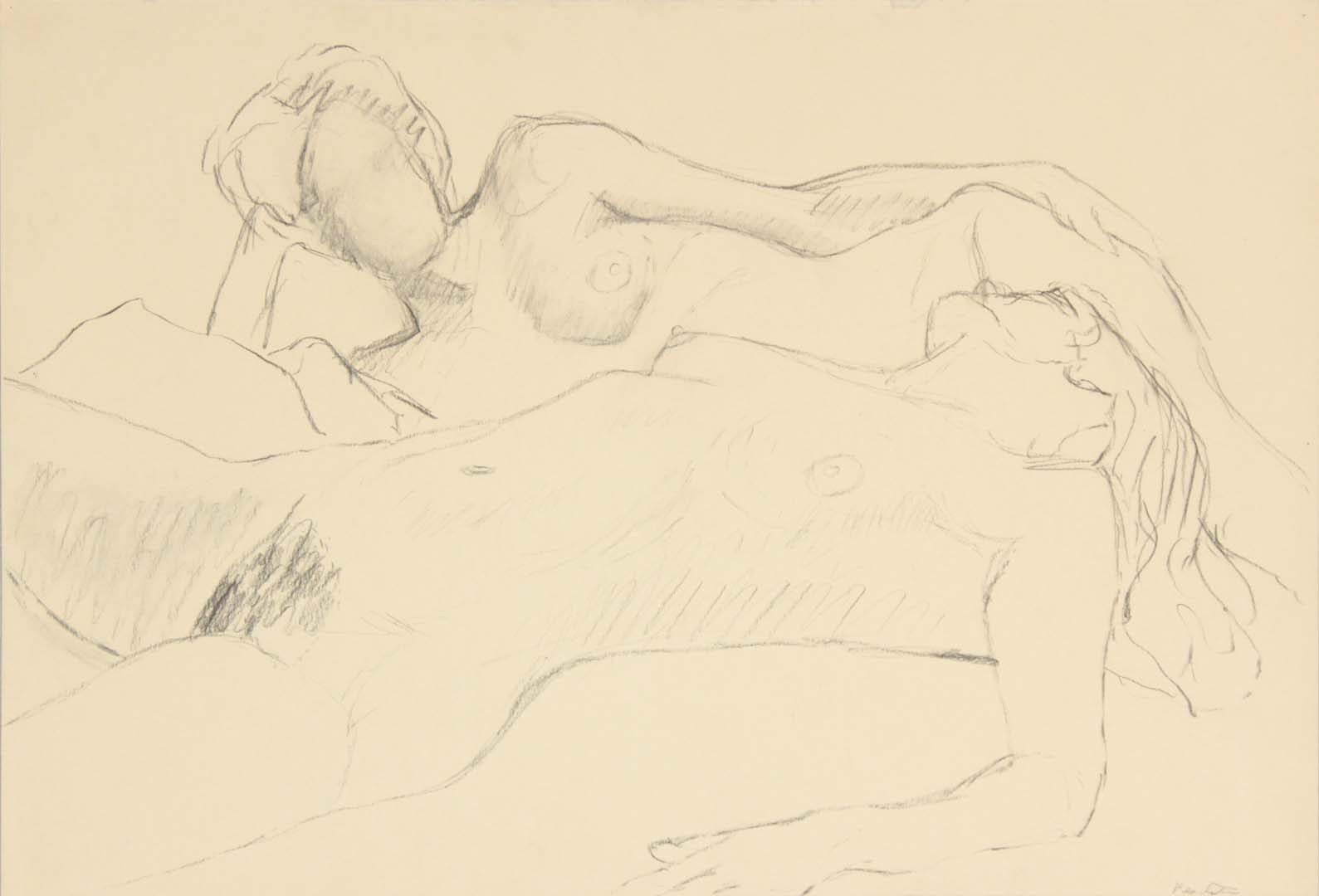 "Two Reclined Female Models Graphite 15"" x 22"""