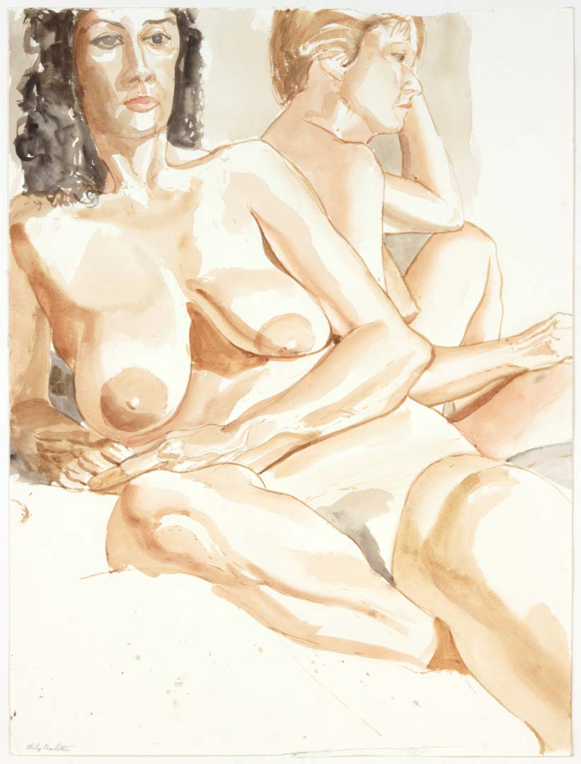 Two Reclining Females Watercolor on Paper