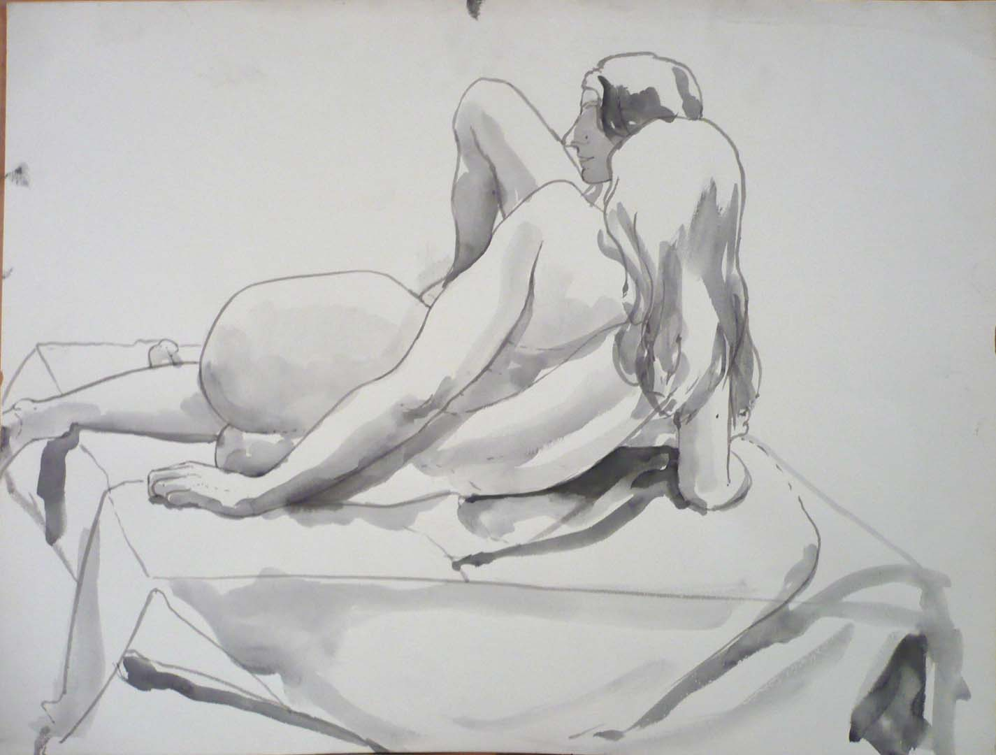 Two Reclining Nudes on Platform Black Wash 17.375 x 22.875
