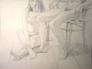 Two Seated Female Models Graphite 18 x 24