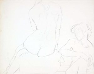 Two Seated Female Models Graphite 18.75 x 23.875