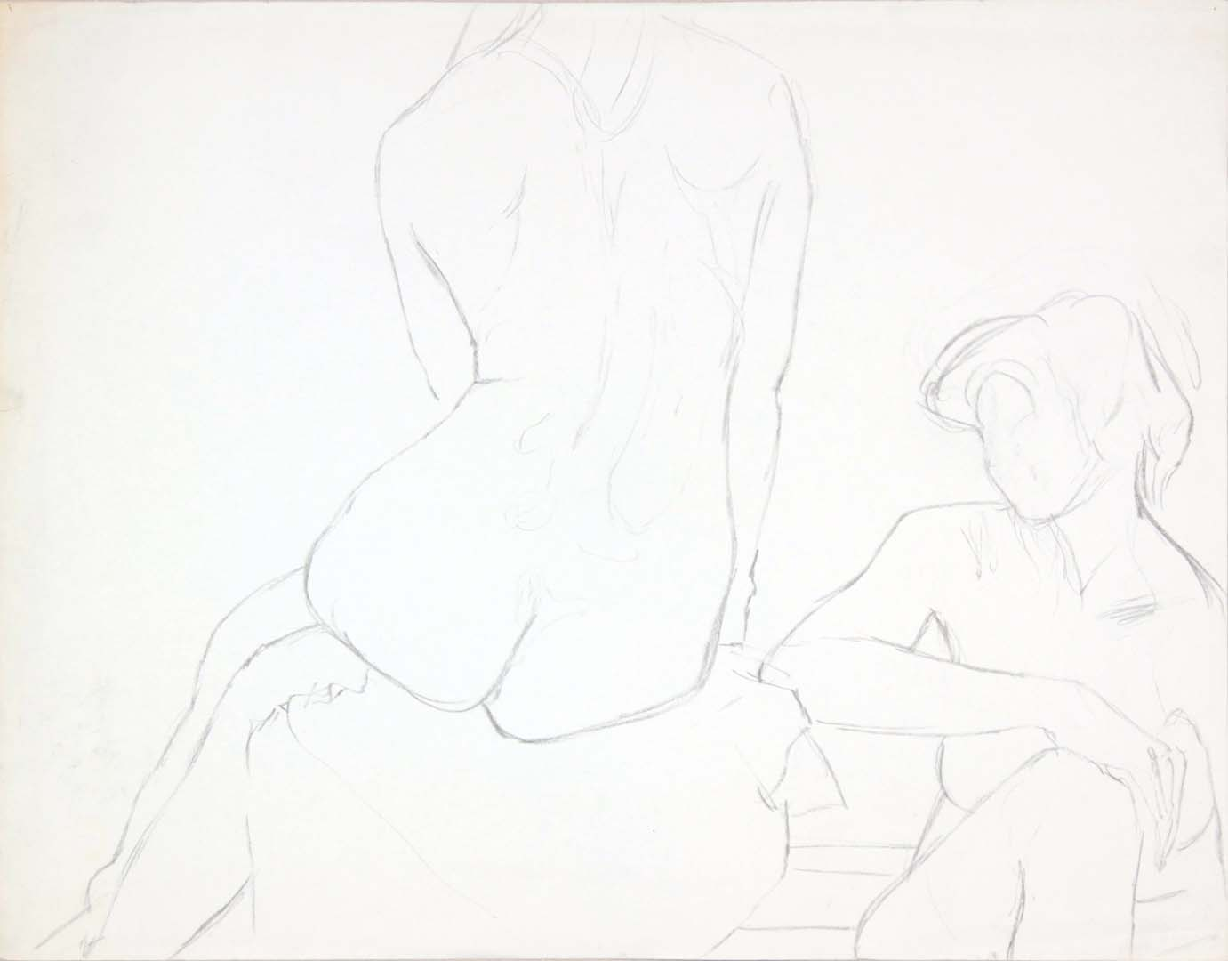 "Two Seated Female Models Graphite 18.75"" x 23.875"""