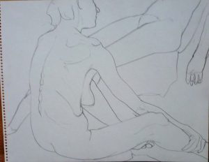 Two Seated Female Models Pencil 11 x 14