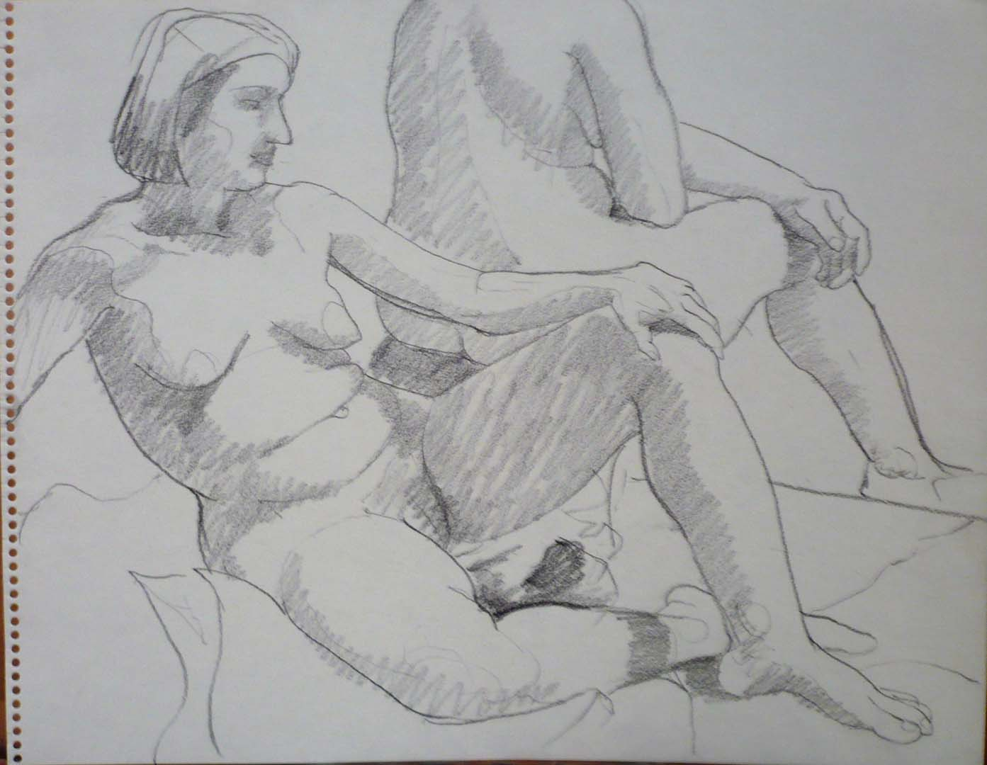"""Two Seated Models Pencil 11"""" x 14"""""""