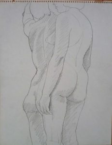 Two Standing Female Models Pencil 14 x 11