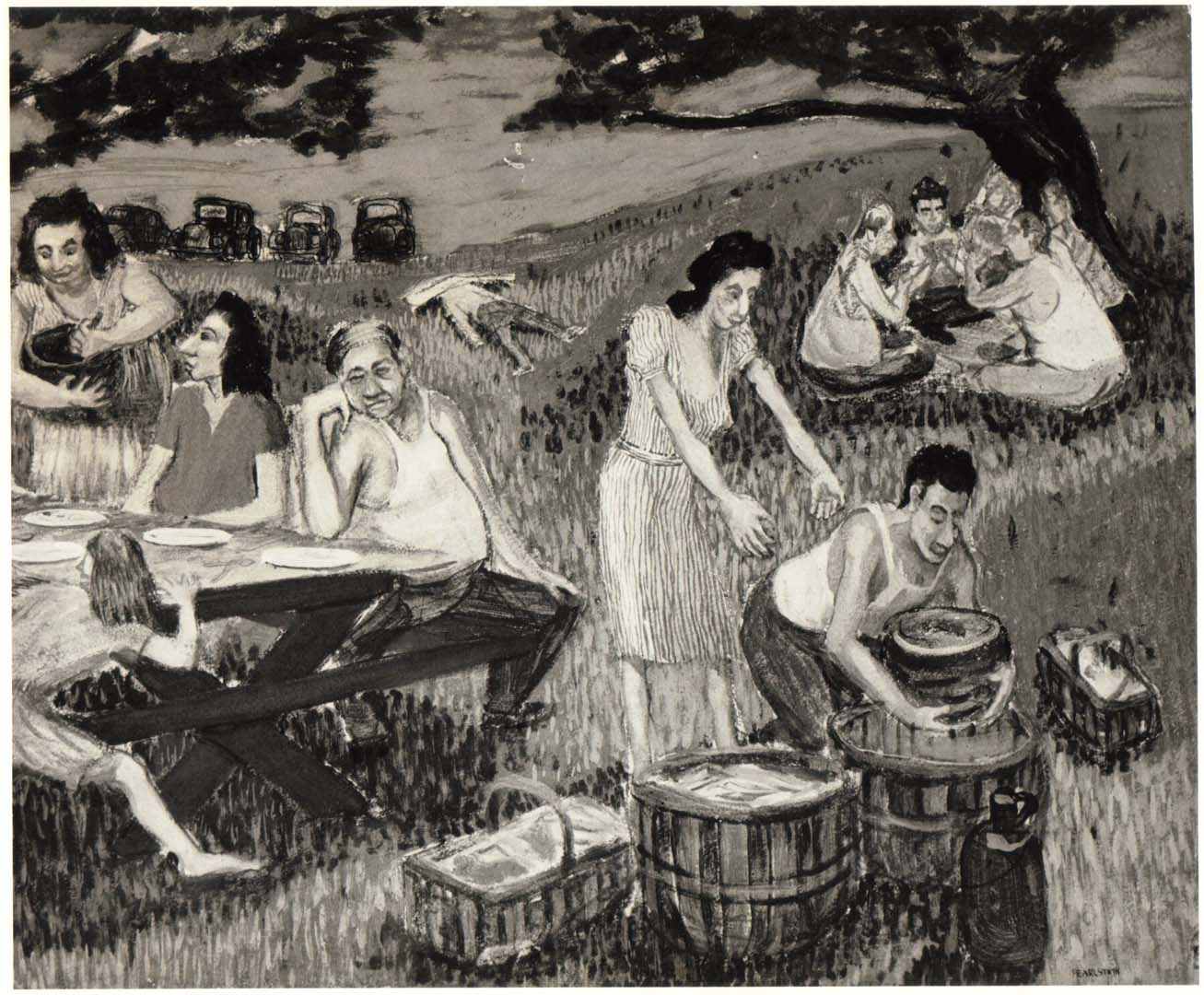 1948 Family Picnic (Caricature) II Casein on Board 20 x 24