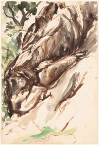1953 New York Rock #1 Watercolor on Paper 22 x 14.75