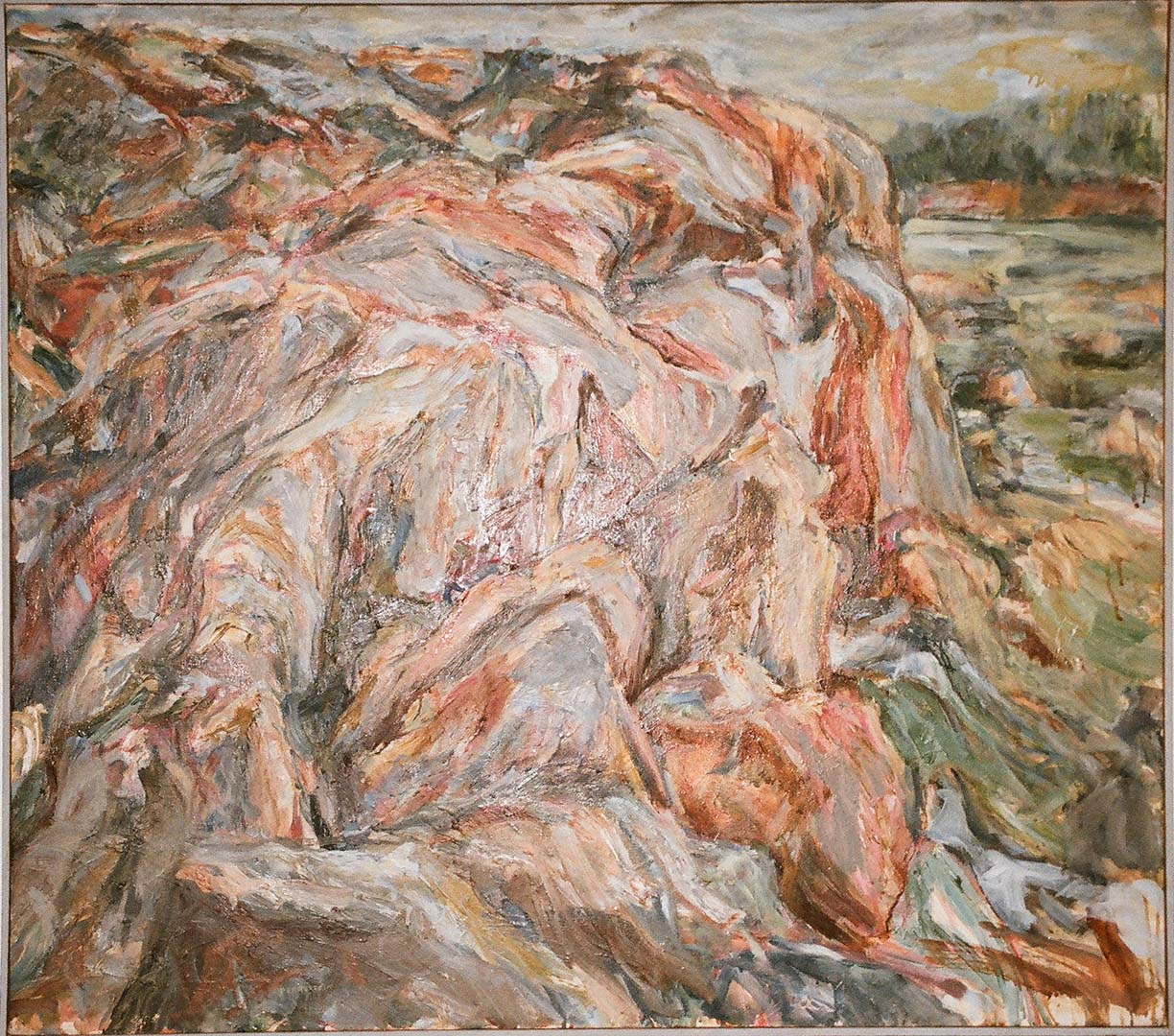 1955 Cliff and Sea Oil on Canvas 36 x 39.375