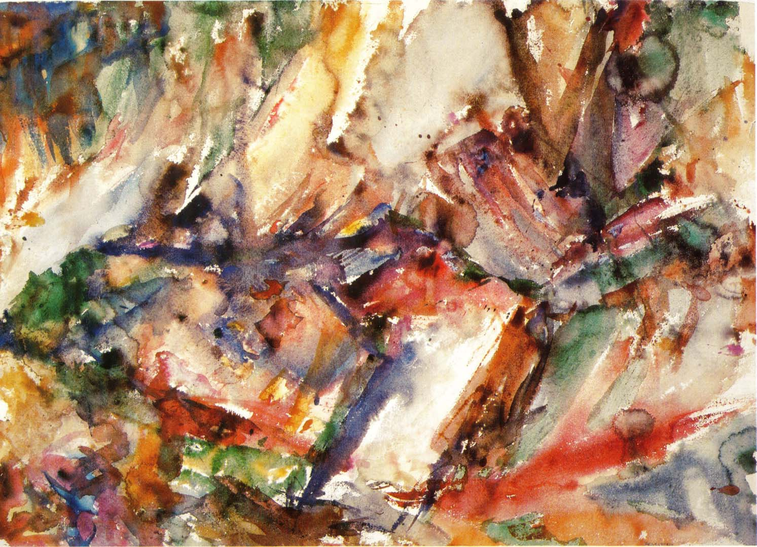 1955 Fractured Rock Watercolor on Paper 21.75 x 30.5