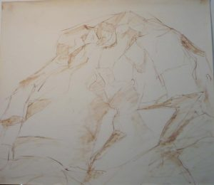 1955 Large Rock Watercolor on Paper 20.375 x 23.5