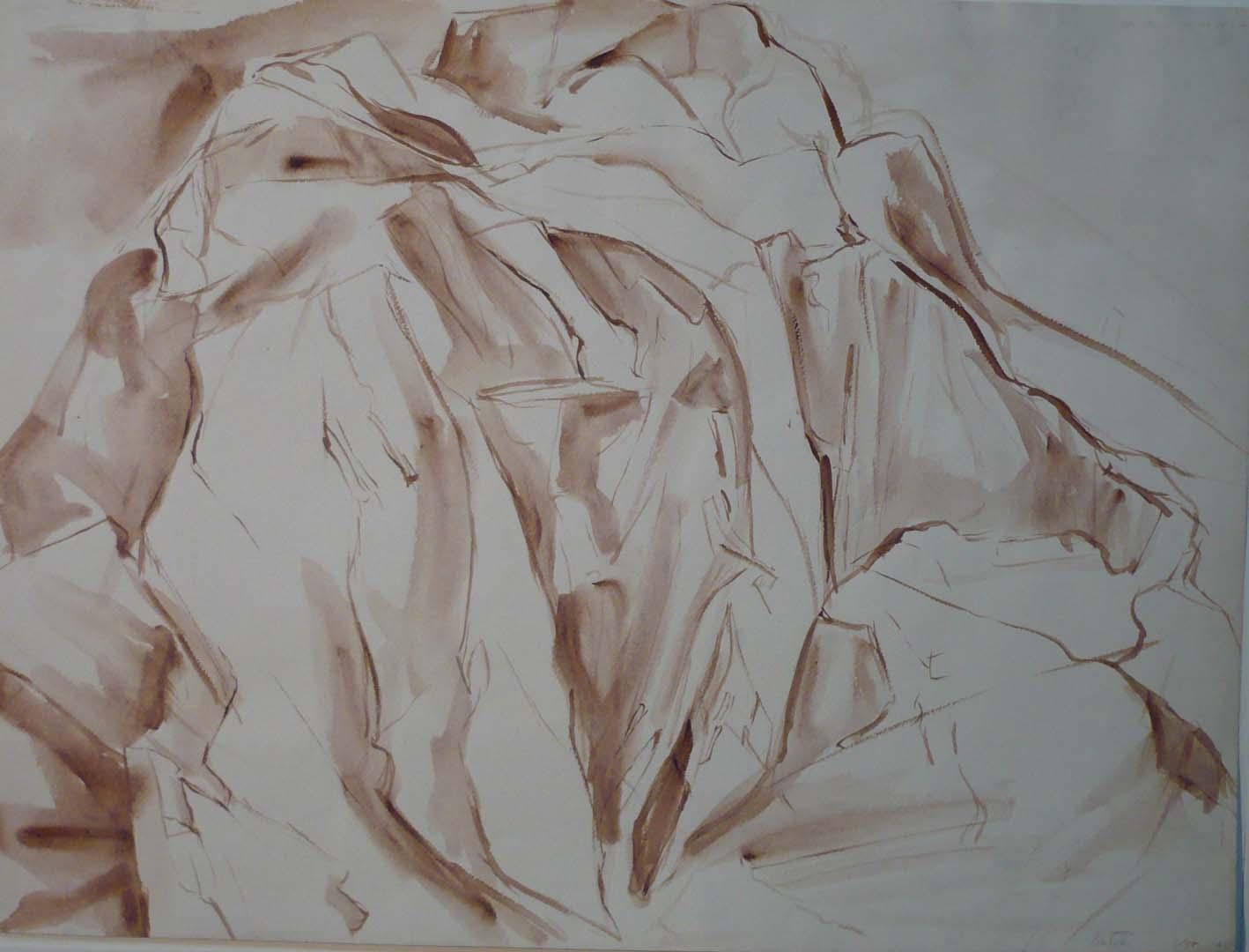 1955 Montauk Rocks #2 Sepia Wash on Paper 18 x 24