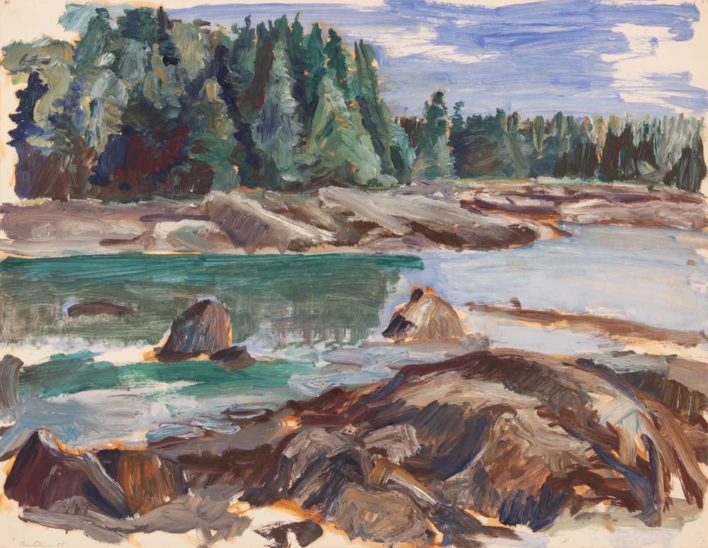 """1955 River Oil on Paper 16.875"""" x 21.75"""""""