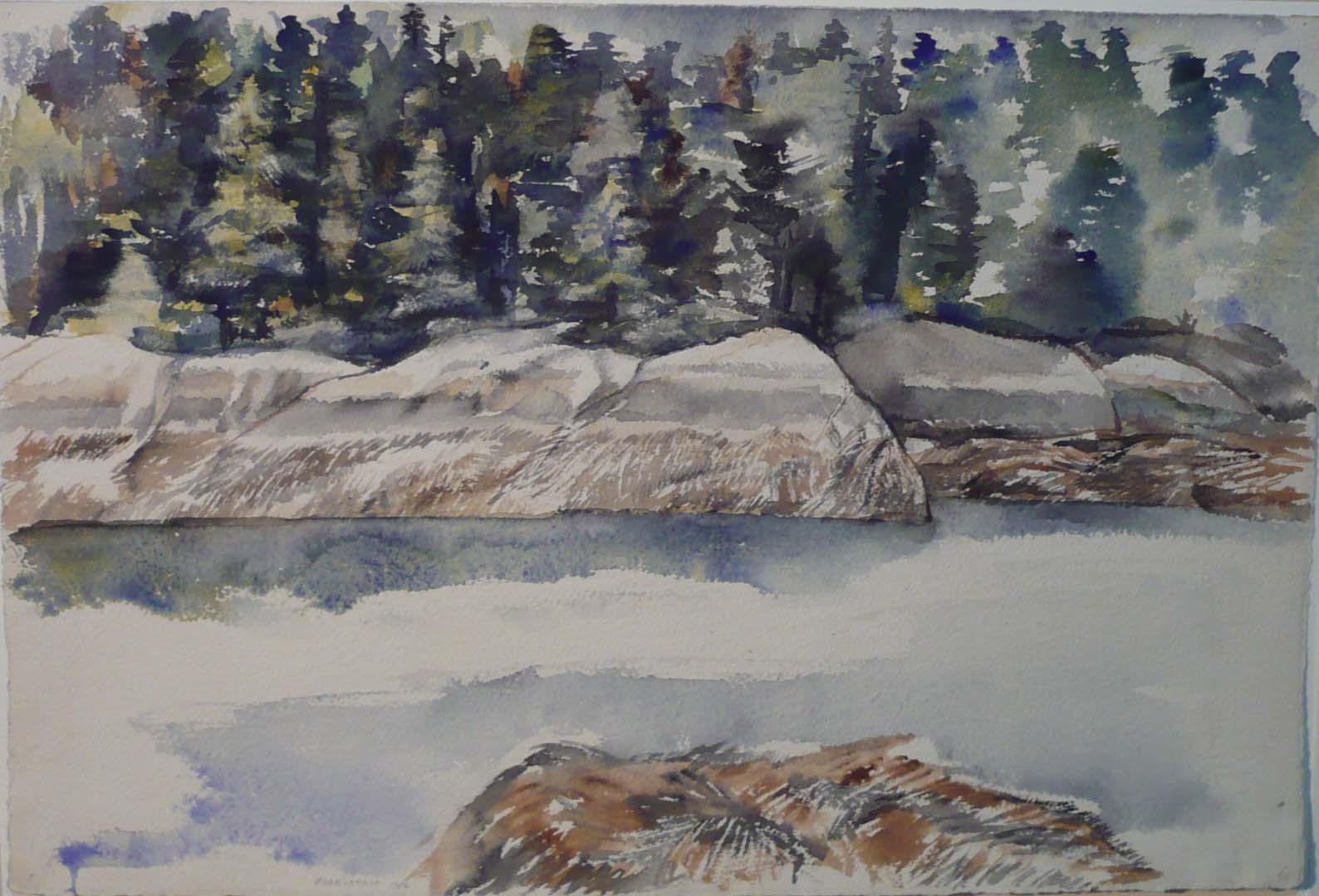 1956 Deer Isle #5 Watercolor on Paper 14.75 x 22