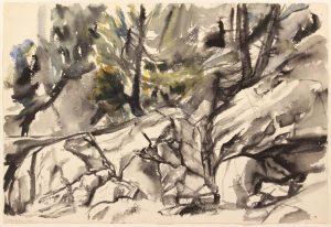 1956 Deer Isle Rocks #3 Watercolor on Paper 15 x 22
