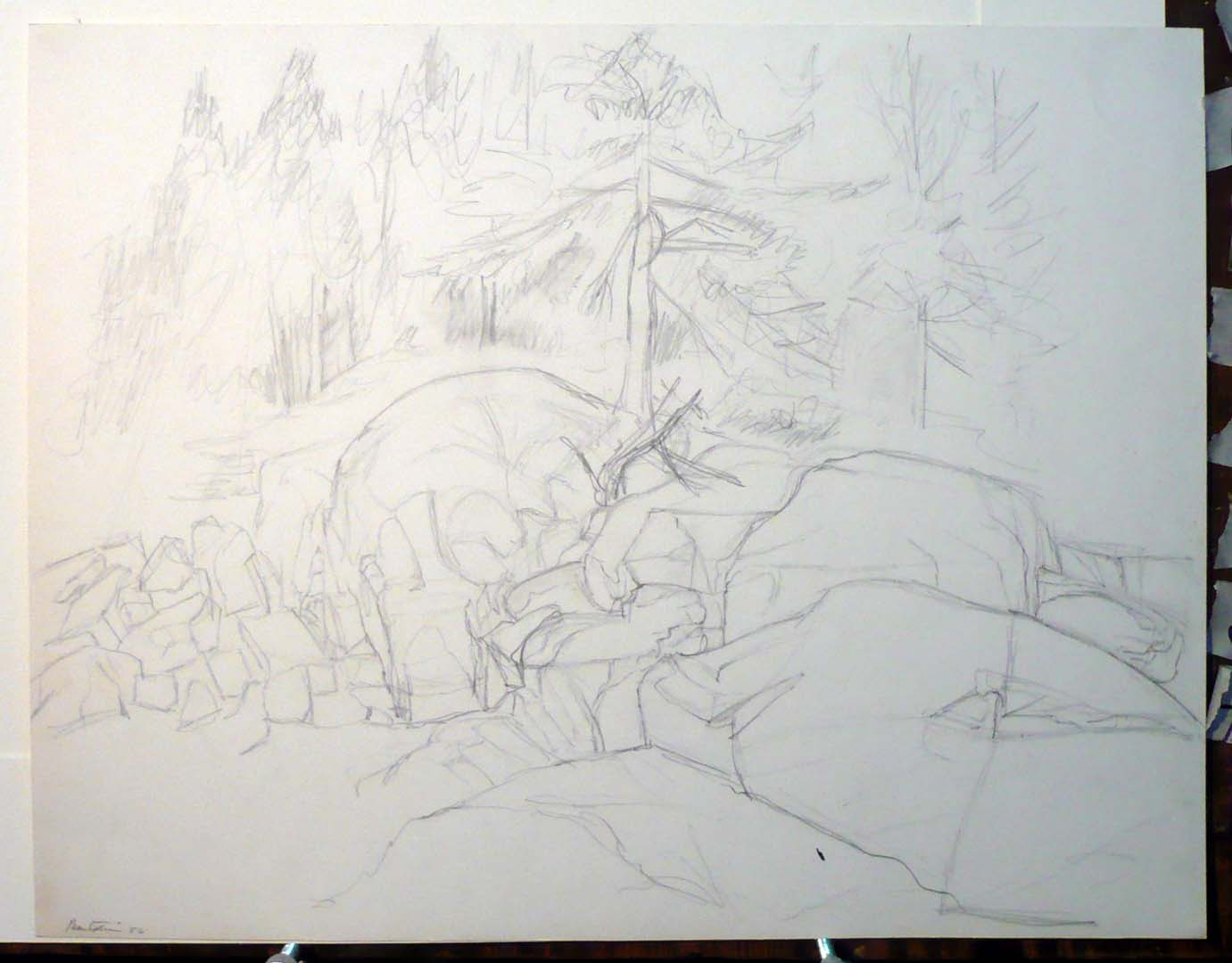 1956 Deer Isle Shore Pencil on Paper 16.875 x 21.625