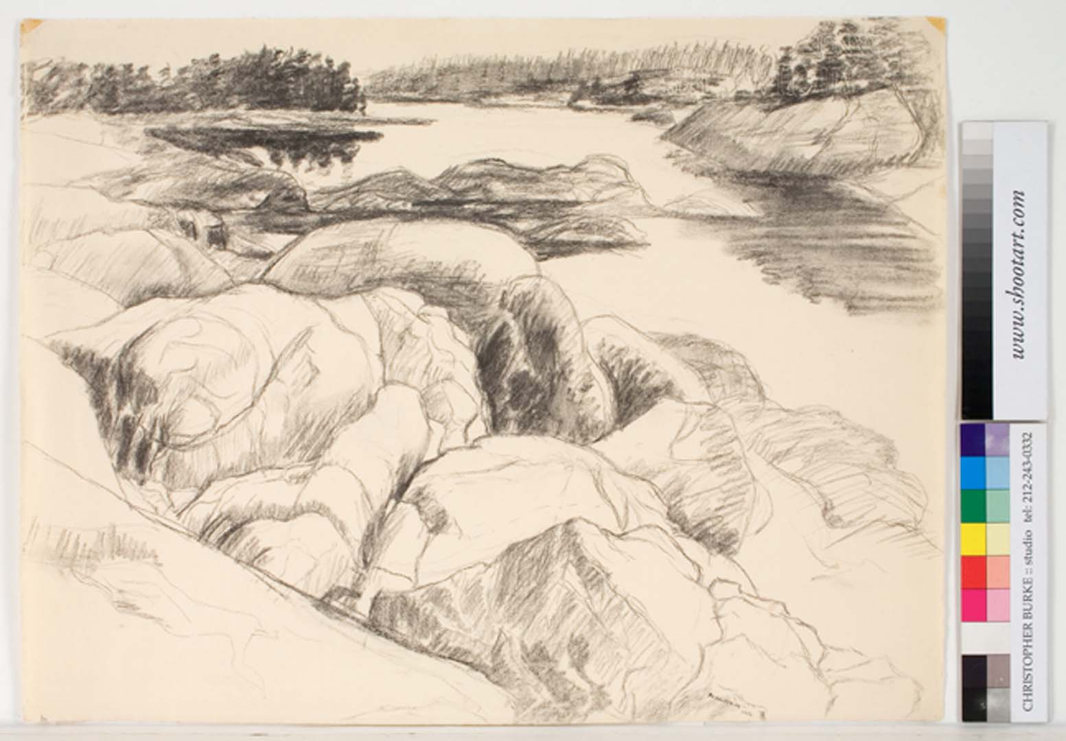 """1956 Drawing for Tidal Inlet Charcoal on Paper 18.875"""" x 24.75"""""""