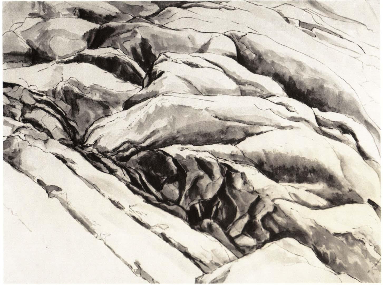 1956 Ridged Rock Ink Wash on Paper 18.75 x 24.75
