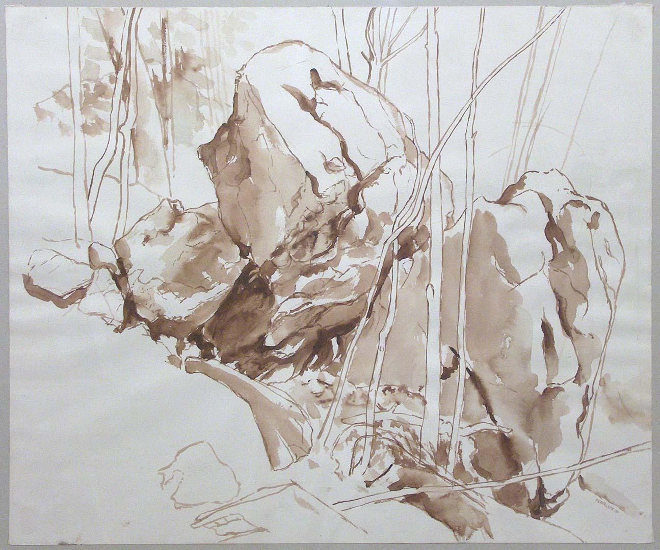 1957 Boulder Sepia Wash on Paper 18 x 21.5