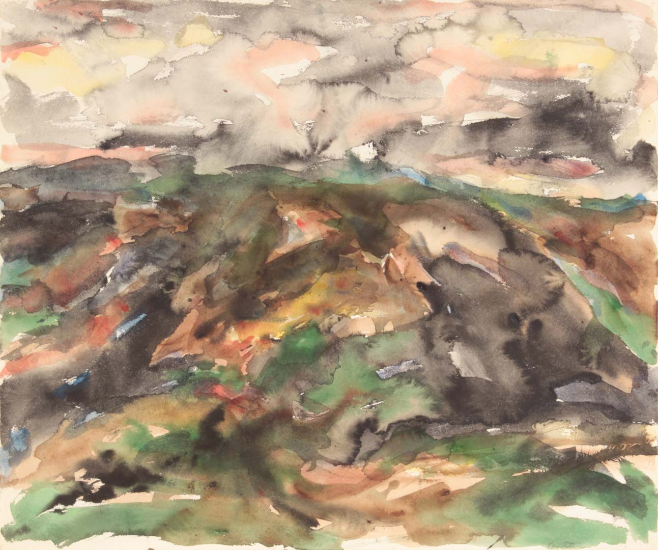 1958 View of Assissi #2 Watercolor on Paper 18 x 21.5