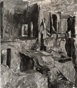 1959 Palantine #2 (B&W) Oil on Canvas 48 x 43