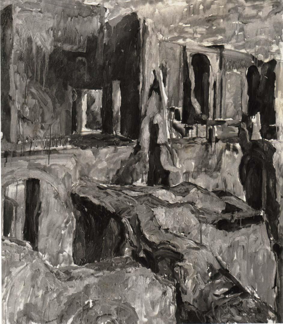 1959 Palantine #2 (B&W) Oil on Canvas 48 x 43