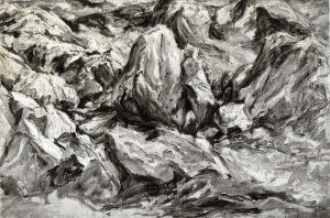 1958 Glacier Scraped Oil on Canvas 40 x 60