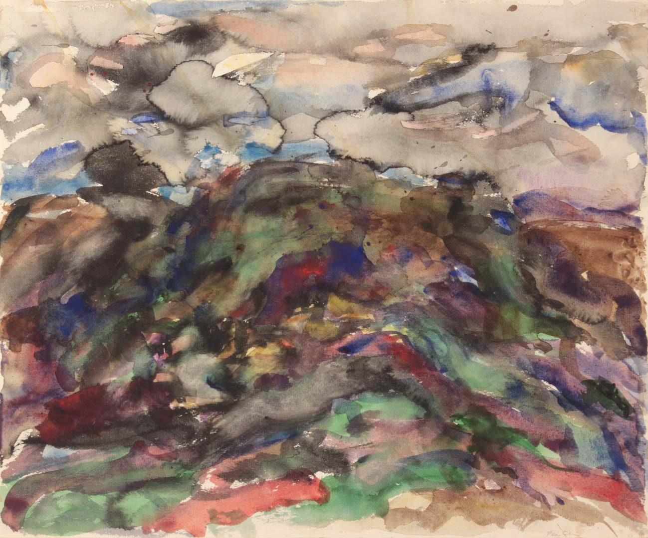 "1958 View of Assissi #4 Watercolor on Paper 18"" x 21"""