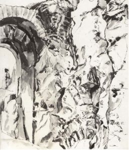 1959 Palatine Ink Wash on Paper 27 x 21.5