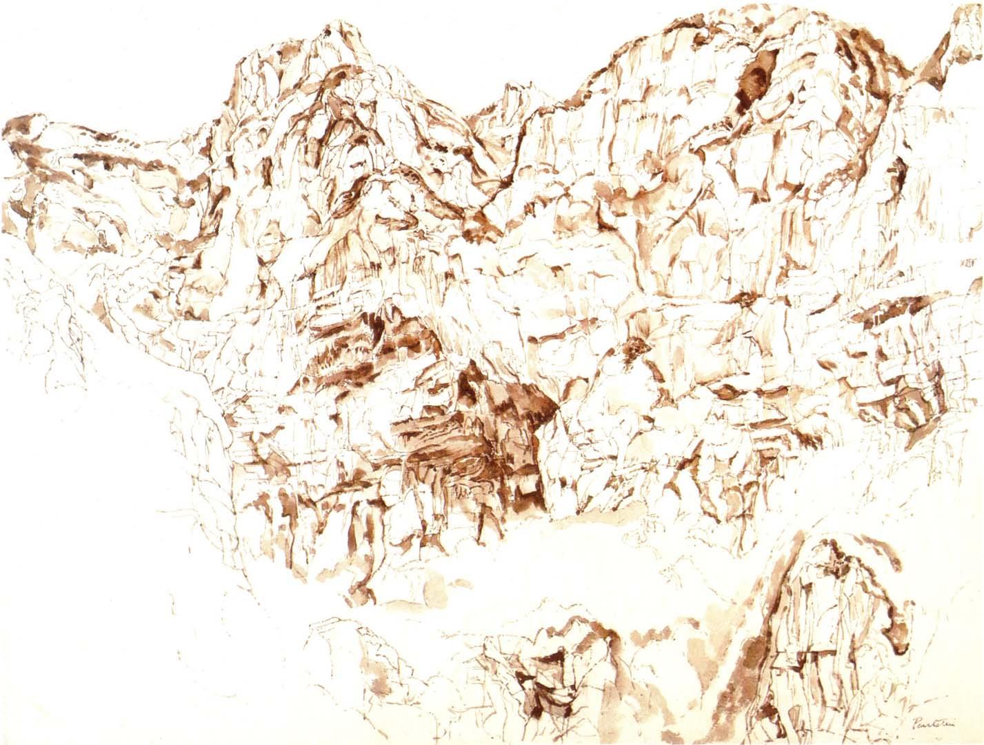 1959 Positano Sepia Wash on Paper 20.75 x 27.375