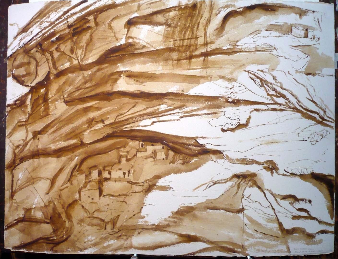 1975 Taree Turkey Ruin Sepia Wash on Paper 22.375 x 19.5