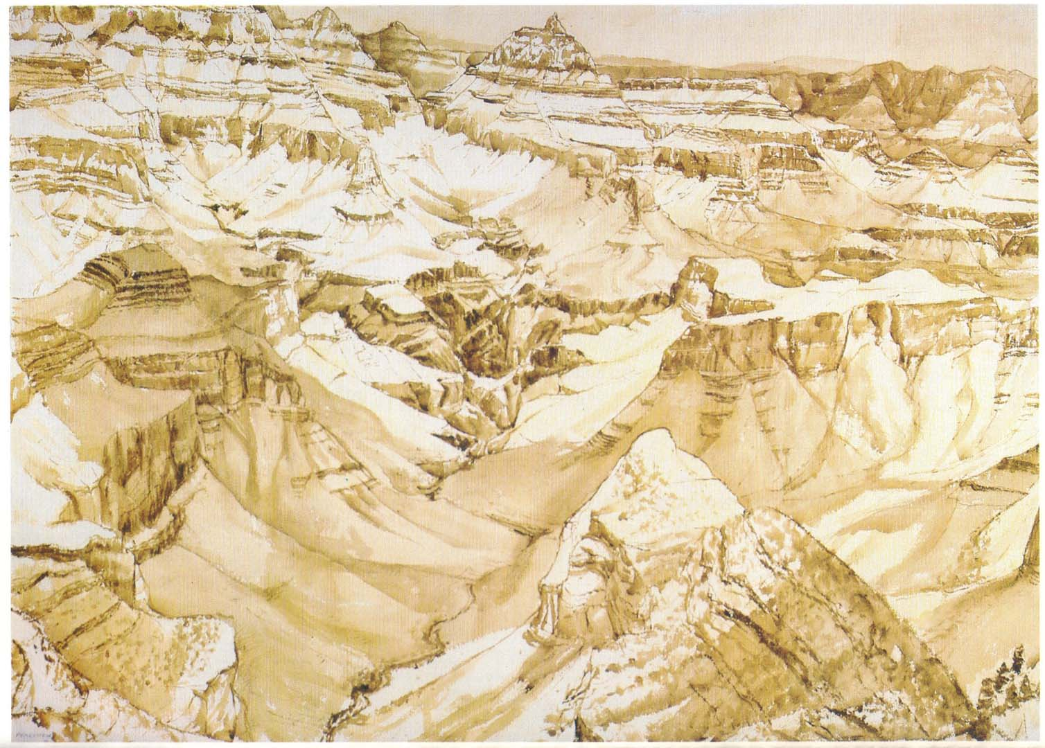 1976 Grand Canyon Sepia Wash on Paper 29.5 x 41