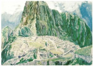 1977 Machu Picchu Watercolor on Paper 29.5 x 41
