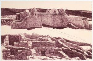 1978 Ruins at Gran Quivera Lithograph on Paper 19.125 x 29.75