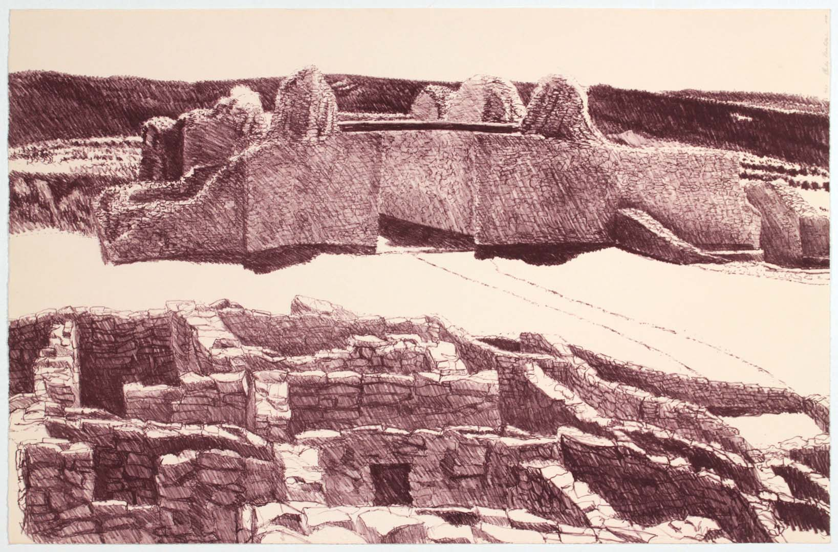 1978 Ruins at Gran Quivera Lithograph on Paper 19.125 x 29.75