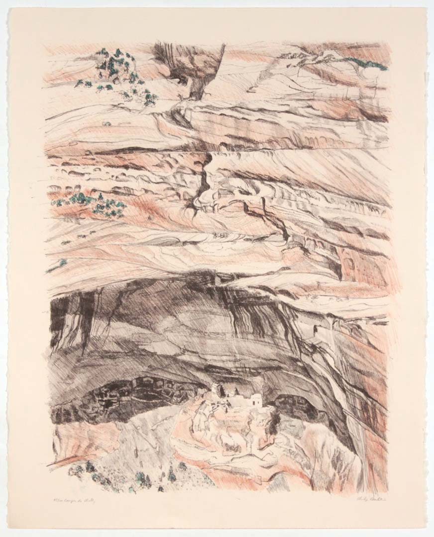 """1979 Canyon de Chelly Lithograph on Paper 28"""" x 22.25"""""""