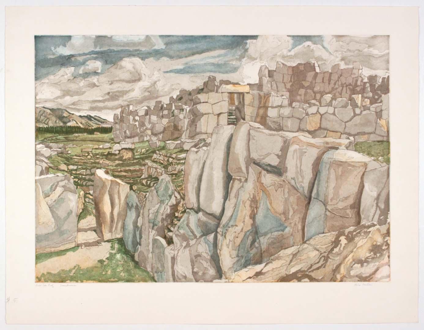 1979 Sacsahuman Aquatint Etching on Paper 30.25 x 39.25