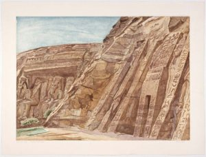 1979 Temple at Abu Simbel Aquatint Etching on Paper 29.25 x 39