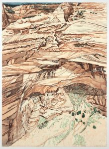 1981 Mummy Cave Ruins at Canyon de Chelly Aquatint Etching on Paper 40 x 28.75