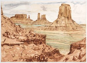 1981 Monument Valley Aquatint Etching on Paper 29 x 40.5