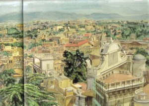 1982 View of Rome Watercolor on Paper 29 x 41