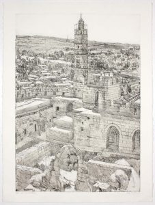 1986 View from the Citadel Aquatint Etching on Paper 29.875 x 22.25